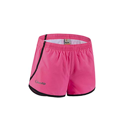 AXEN Women's Light Breathable Workout Running Shorts with Pockets Absorb Sweat Quick Dry Shorts, Pink M