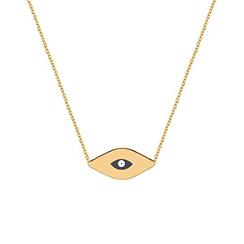 Ritastephens 14k Solid Yellow Gold Mini Evil Eye Good Luck Pendant Charm Necklace Adjustable from 16