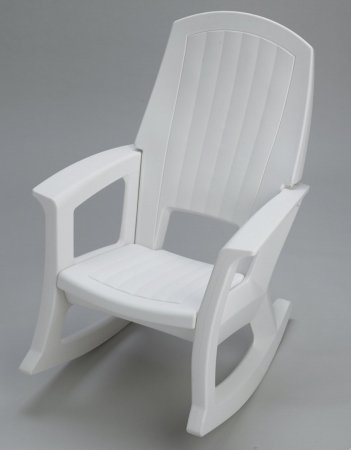 White Outdoor Rocking Chair   600 Lb. Capacity
