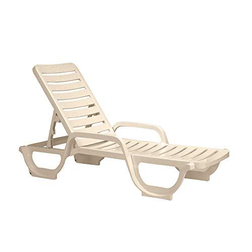 Grosfillex US031066 Bahia Chaise, Adjustable, Sandstone (Case of 2)