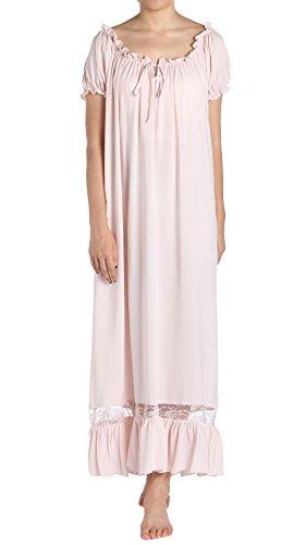 Latuza Women's Sleepwear Off The Shoulder Victorian Nightgown, Pink, Large ()
