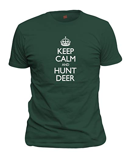 shirtloco Men's Keep Calm and Hunt Deer T-Shirt, Forest Green ()