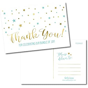 25 boy baby shower thank you note card bulk set blank blue and gold cute modern sprinkle postcards no envelopes needed stationery appreciation for party