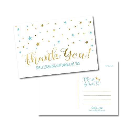 25 Boy Baby Shower Thank You Note Card Bulk Set, Blank Blue and Gold Cute Modern Sprinkle Postcards, No Envelopes Needed Stationery Appreciation For Party Gifts, Personalize Printable Cardstock Paper