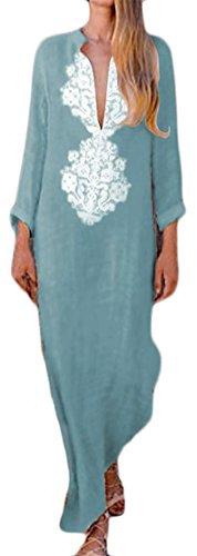 Cromoncent Femmes V-cou Imprimé À Manches Longues Robe Maxi Loose Style Ethnique Wathet