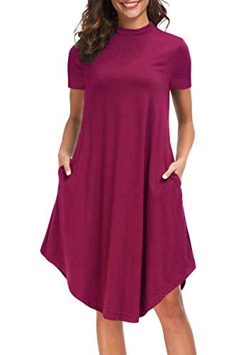 Trapeze Floral Dress - Women's High Neck Short Sleeve Tunic Dress Flowy Midi Pocket Dress,Burgundy XXL