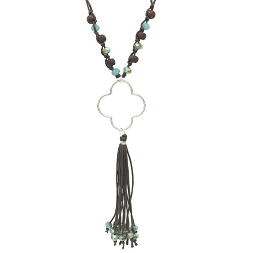Gypsy Jewels Long Tassel Cord Fringe Silver Tone Open Clover Necklace (Brown & Blue Silver ()