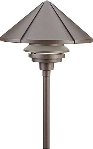 Kichler 15211AZT, Six Groove Cast Aluminum Post Landscape Path Lighting Fluorescent, Bronze
