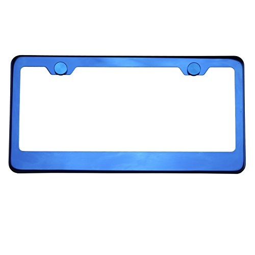 Polish Blue Chrome T304 Stainless Steel License Plate Frame Holder Front Or Rear Bracket with Aluminum Screw Cap