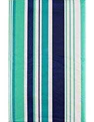 Summer Fun Beach Stripes Purple, Teal and Green with Zipper Umbrella Hole Vinyl Flannel Back Tablecloth (70