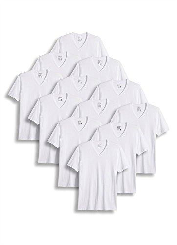 Jockey Men's T-Shirts Classic V-Neck T-Shirt - 12 Pack, White, - Tee V-neck Jockey Classic