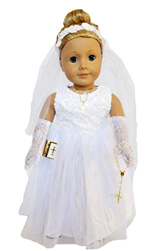 Wedding Gowns Accessories - Brittany's Sequin Wedding-Communion Gown Compatible with American Girl Dolls with Accessories- 18 Inch Doll Clothes
