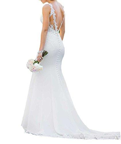 SHNE Women's Elegant High Neck Floral Lace Sheath Satin Wedding Dress With Long Train Ivory - Dress Sheath Satin Neck
