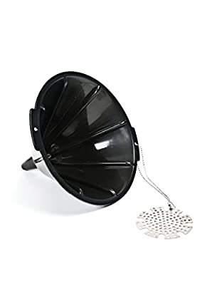 Charcoal Companion CC5106 Black Plastic Oil Funnel with Metal Filter