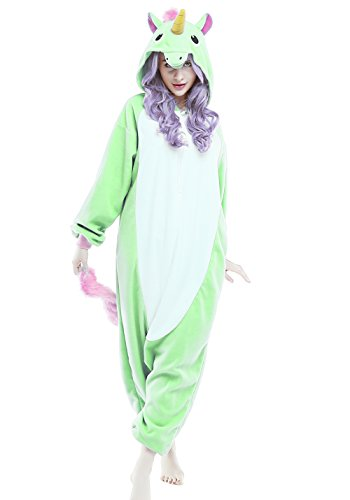 NEWCOSPLAY Halloween Unisex-Adult New Purple Unicorn Pajamas Kigurumi Onepiece Cosplay Costume Animal Outfit (S-For height 59-63, Unicorn Light Green)