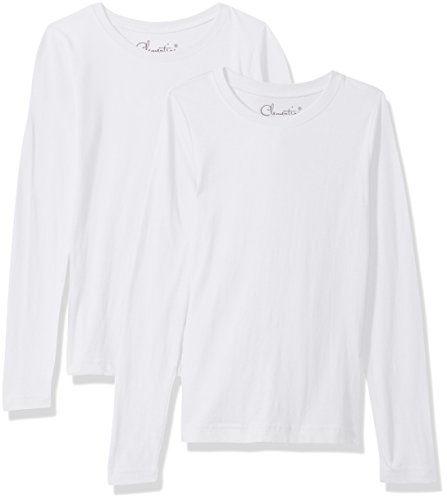 Clementine Big Girls' Everyday T-Shirts Long Sleeve Crew 2-Pack, White/White, S