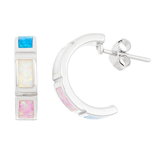 Sterling Silver Created Multi-Colored Opal Half Hoop Earrings by Beaux Bijoux