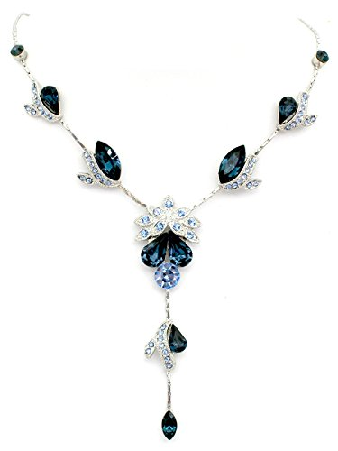 Faship Gorgeous Navy Blue Crystal Floral Necklace Earrings Set (Navy Blue Crystal)