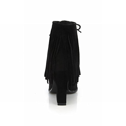 Latasa Women fashion Nubuck Lace up Ankle High Tassel Boots Black 8OmGp6Aut