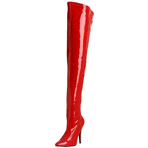 5 Inch Sexy Thigh Hi Boots Stretch Thigh Boot Red Stretch Patent High Heel Boot Size: -