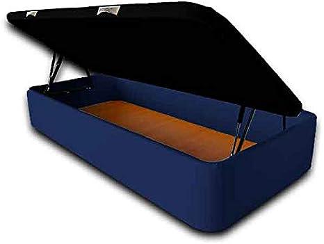 Imagen deVentadecolchones - Canapé Abatible Apertura Lateral Serena Gran Capacidad Tapizado en Polipiel Azul Medidas 105 x 190 cm con Tapa en Tejido 3D