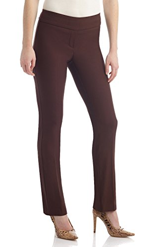 REKUCCI Women's Ease In To Comfort Straight Leg Pant With Tummy Control (16,Brown) (Control Straight)