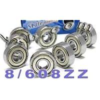 608 ZZ Rodamientos de skateboard, blindaje doble, plata (paquete de 8)
