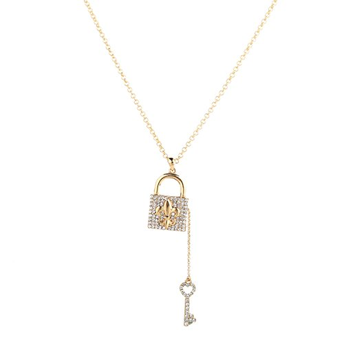 Fvermecky Lock Key Pendant Necklace Shiny Halloween Crystal Necklace Sweater Necklace Best Idea Gifts for Teen Girls Women Girlfriend (gold)