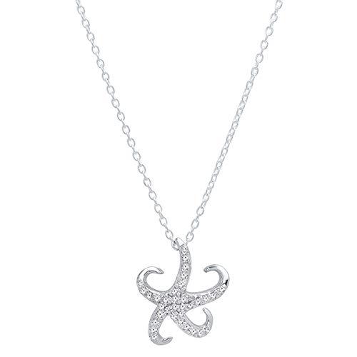Dazzlingrock Collection 0.25 Carat (Ctw) 10K Round Diamond Ladies Starfish Pendant 1/4 CT, White Gold