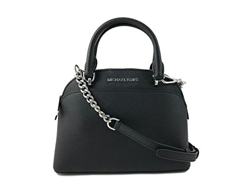 Michael Kors Emmy Small Dome Satchel in Saffiano Leather (Black with Silver Hardware) by MICHAEL Michael Kors