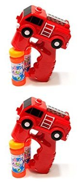 LilPals 2 RED FIRE TRUCKS BUBBLE GUN SHOOTER AMAZING TWO PACK BUNDLE – WITH LIGHT AND SOUNDS, WITH 2 BUBBLE SOLUTIONS, FOR KIDS 3 YEARS AND UP