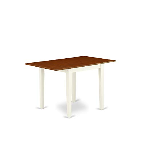 "East West Furniture Norden Rectangular Table 30""X48"" With 2 Drop Leaves In Buttermilk & Cherry Finish, Medium"