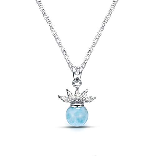 (Tuoke Sterling Silver Jewelry Natural Larimar Pendant Necklace Fashion Blue Queen's Crown Larimar Pendant with 14k White Gold Plated Silver 18
