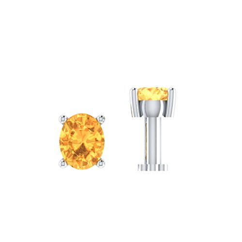 Silvernshine Jewels 0.15 Ct Citrine Solitaire Nose Bone 925 Sterling Silver Screw Stud Piercing Ring Pin by Silvernshine Jewels