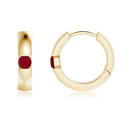 Channel-Set Round Ruby Hinged Hoop Earrings in 14K Yellow Gold (2.5mm Ruby) ()