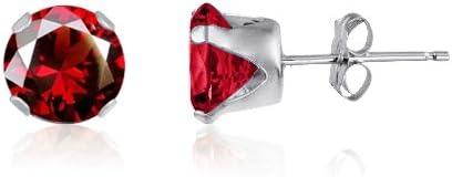 Kezef Redondo 9 mm rojo con circonitas granate, 925 Broche de plata de ley Juego de pendientes de tuerca
