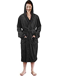 61214376e8 Hooded Bathrobe Mens Luxurious Fleece Shawl Collar Robe