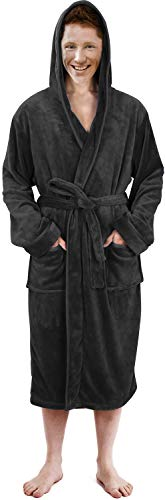 NY Threads Luxurious Men's Shawl Collar Fleece Bathrobe with Hood (Grey, L/XL)
