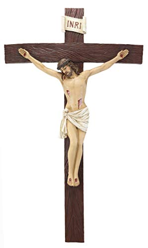 Crucifix Christ - Ebros Large 30 Inches High INRI Jesus Christ Crucified On The Cross Wall Hanging Crucifix Crosses Plaque in Vivid Colors Catholic Christian Sculpture Home Decor Plaque Inspirational Religious Art