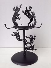 Partylite Halloween Ghost Tealight Candle Holder Black Metal 10.5