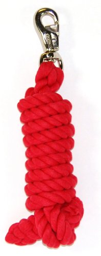 Hamilton Cotton Lead with Nickel-Plated Bull Snap, Red, 3/4