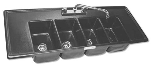 - Moli International Four Compartment Drop In Sink With Faucet Deck & Drainboards