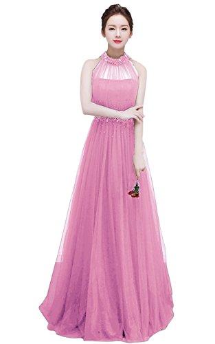 Besswedding Femmes Longue Élégante Tulle Licol De Pink2 Robe De Demoiselle D'honneur De Mariage Sans Manches