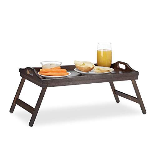 Relaxdays Betttablett Bambus, klappbar, Griffe, erhöhter Rand, Frühstücken & Servieren, HBT: 22×61,5x30cm, dunkelbraun