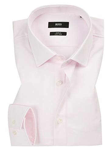 Hugo Boss Men's Textured Jenno Slim Fit Dress Shirt (15, Pink)