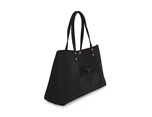 Shopping bag in neoprene LA FILLE DES FLEURS BORSA marion BLACK 35X35X14 �?