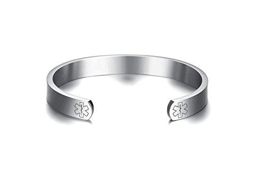 Free Engraving-Vnox Stainless Steel Medical Alert ID Open Cuff Bangle Bracelet for Men Women,Silver,8'' by VNOX