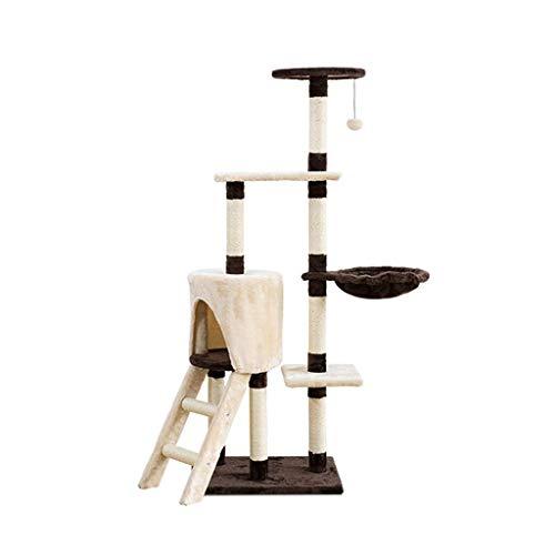 FTFDTMY Treppenkatze Klettergerüst, Katzennest Kratzbaum Einteiliger Sisal Katzenspielzeug Haustierbedarf Katzensprungplattform Yan (Größe: 39 * 46 * 136 cm)