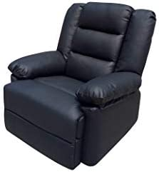 Real Leather Reclining Lounge Armchair for Home Cinema & Gaming | Choice of 3 Styles in Black or Brown (Caesar, Black)