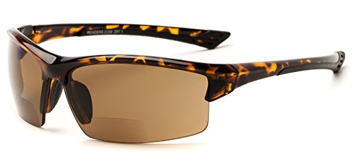 Readers.com The Foster Bifocal Sun Reader +1.50 Tortoise with Amber Sport Style Bifocal Sun in Matte or Shiny Frame Sport & Wrap-Around Reading - Sunglasses Best Companies